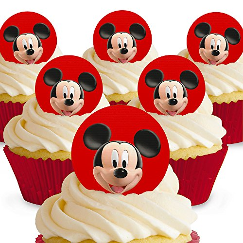 Cakeshop 12 x PRE-CUT Mickey Mouse Face Edible Cake Toppers Curl Mickey Mouse