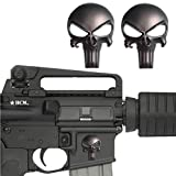 #5: Creatrill 2 Pack Magwell Metal Decal Sticker - Punisher Skull 1 inch by 1.38 inch