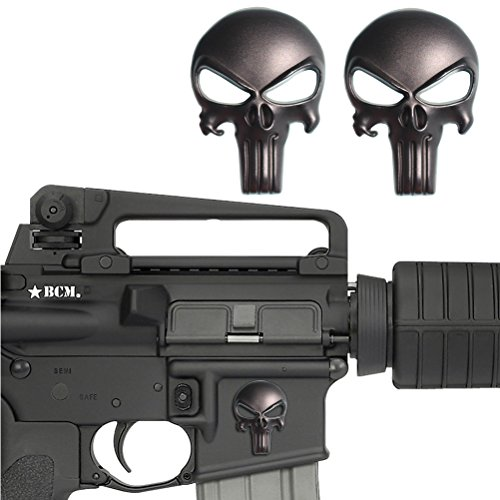Free Float Quad Rail - Creatrill 2 Pack Magwell Metal Decal Sticker - Punisher Skull 1 inch by 1.38 inch