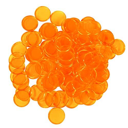 Plastic Magnetic Bingo Chips - Metal Edge - Transparent Orange - 300pcs - 3/4