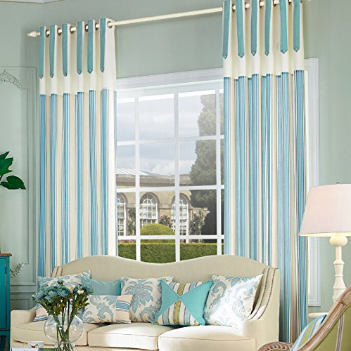 Cheap IYUEGO Country Rustic Print Cotton Multi Striped Grommet Top Lining Blackout Curtains Drapes 100″ W x 102″ L(One Panel)