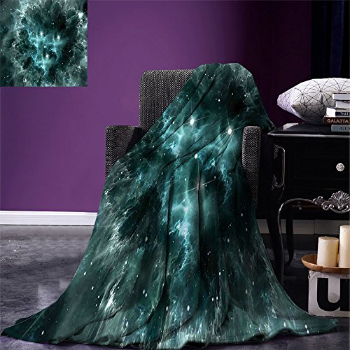 smallbeefly Outer Space Warm Microfiber All Season Blanket Space Nebula in the Space with Crystal Star Cluster Galaxy Solar System Cosmos Print Print Artwork Image,Multicolor, Teal by smallbeefly