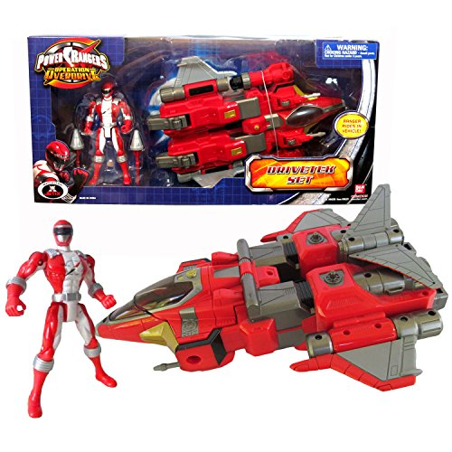 Bandai Year 2007 Power Rangers Operation Overdrive 11 Inch Long Action Vehicle Set - DRIVETEK SET with Missile Launcher, 2 Missiles and Red Power Ranger Red Power Ranger Operation Overdrive