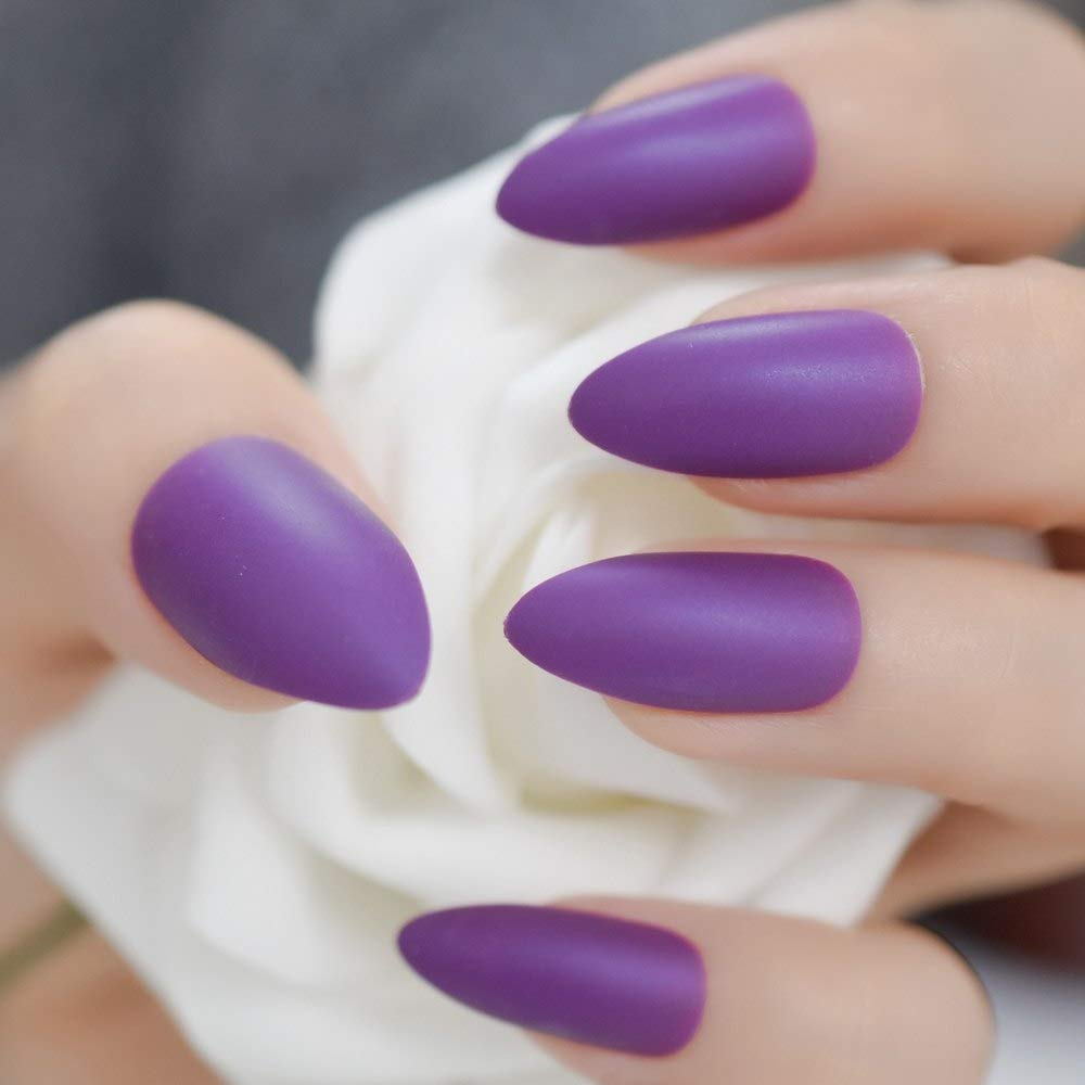 CoolNail Violet Purple Matte Pointed Stiletto False Nails Full Cover  Frosted Sharp Stilettos Fake Nail Tips