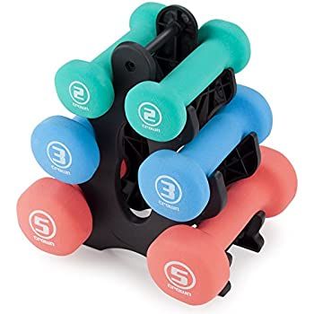 Set of 3 Pairs of Neoprene Body Sculpting Hand Weights with Stand by Crown Sporting Goods (Shape)