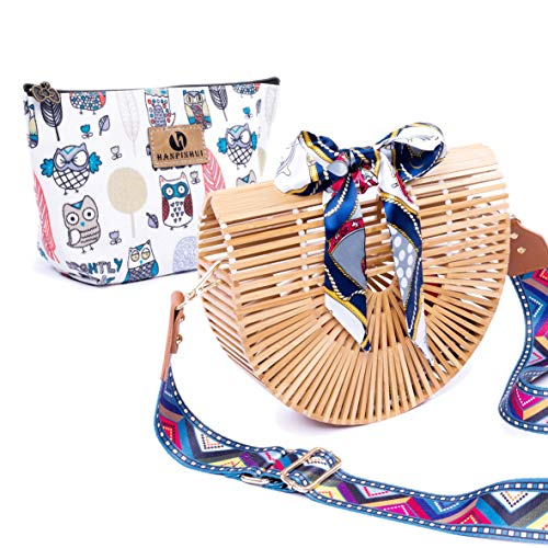 Bamboo Purse Handmade Tote Bag Bamboo Handbag With Insert Straw Beach Bag Clutch For Women & ()