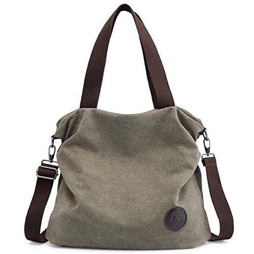 d5ce098cc333 Simple Style Women s Handbag Canvas Shoulder Crossbody Bag Hobo Purse Large  Casual Bag (Green)