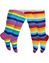 Knee High Socks Rainbow Striped - 2 Pack of Socks Tube Novelty socks over Calf Socks