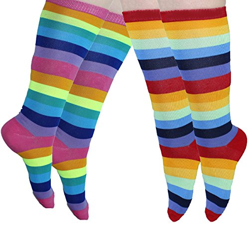 Knee High Socks Rainbow Striped 2 Pack of Socks Novelty socks over Calf Sock (Striped Knee Rainbow Socks)