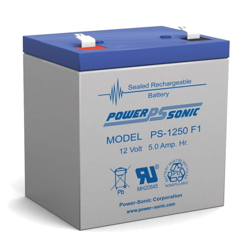 Power Sonic PS1250F1 PS-1250 12 Volt 5 aH Sealed Lead Acid Battery Power-Sonic PS-1250 F1