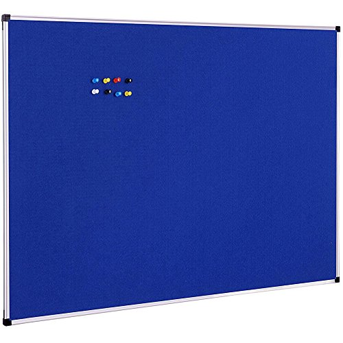 XBoard Notice Board Felt Blue, 48 x 36 inch, Aluminum Framed, Wall Mounted Fabric Message Board, 10 Colorful Push Pins Included for Display and Presentation