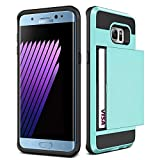 Galaxy S6 Edge + Plus Case,JOBSS [Card Pocket] Shockproof Dual Protective Shell Rubber Bumper with Card Holder Slot Wallet Case Cover Shell For Samsung Galaxy S6 Edge Plus G928 G9287[Blue]