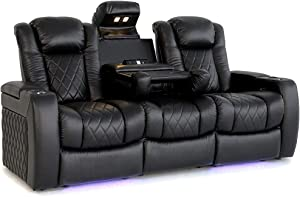 Valencia Tuscany Home Theater Seating | Premium Top Grain Nappa Leather, Power Headrest, Power Lumbar Support, with Center Drop Down Console (Row of 3, Black) Two Free Tray Tables Included.