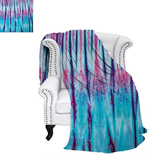 (Digital Printing Blanket Close Up Vertical Gradient Tie Dye Figures Hippie Alter Life Retro Artwork Print Summer Quilt Comforter 90