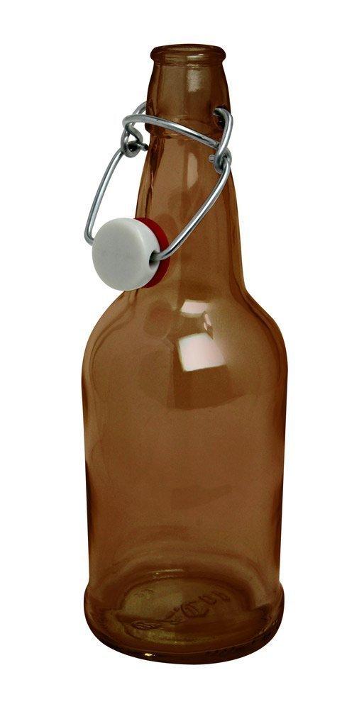 CASE OF 12 - 16 oz. EZ Cap Beer Bottles - AMBER by EZ CAP