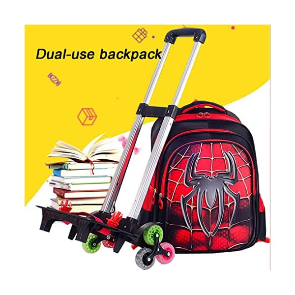 MODRYER Bambini Zaino Impermeabile Superhero Schoolbag elementare Studenti Ruote Zaino Salire Le Scale Trolley Leggero… 3 spesavip