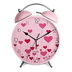 CLG-FLY Creative Children'S Cartoon Cute Mute Lazy Little Alarm Clock,Pink Heart-Shaped#13With Best Service