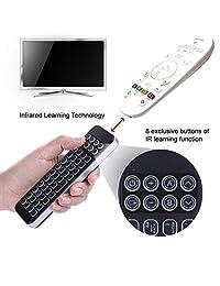 (versión retroiluminada) iPazzPort Mini teclado Bluetooth para reproductor de streaming Fire TV Stick, tecnología de aprendizaje infrarrojo Mando a Distancia Universal con Teclado QWERTY