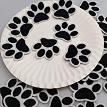 """1.6""""x1.3"""" 20pcs Dog Paw Puppy Black Paw Iron On Embroidered Patches Appliques Machine Embroidery Needlecraft Sewing Clothes"""