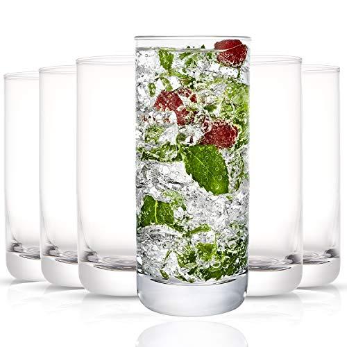 JoyJolt Faye Highball Glasses Set of 6 Tall Drinking Glasses. 13oz Cocktail Glass Set. Lead-Free Crystal Glassware…