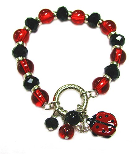 Linpeng 2473D Fiona Glass and Crystal Bead with Dangles Stretch Bracelet