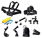 SynkTech® 9-in-1 Accessories Kits for GoPro Hero 2 Hero3 Hero3+Hero 4 Cameras and Xiaomi Xiaoyi Sports Action Camera Camcorder - Chest Strap Mount + Adjustable Head Strap + Floating Handle Grip + Handlebar Seatpost Mount + Car Suction Cup Mount Holder + Extendable Handheld Monopod Stick + Tripod Adapter + Jhook Buckle