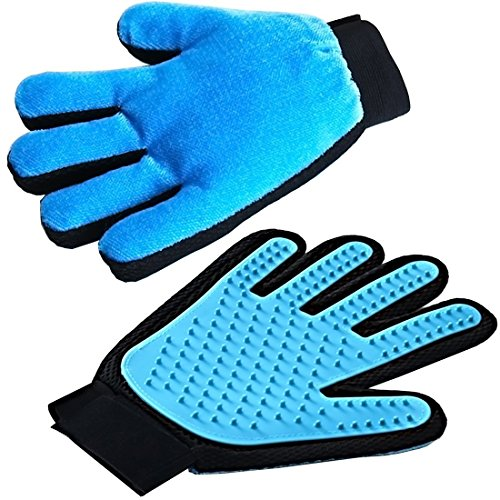 2-In-1 Pet Grooming Glove For Dogs and Cats Santune Effecient Furniture Pets Hair Remover Mittt Gentle Massage Deshedding Brush Bath Comb For Long or Short Fur(One Pair,Light Blue)