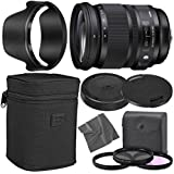 Sigma 24-105mm f/4 DG OS HSM Art Lens for Nikon F with AOM Starter Kit, Sigma Case, Hood, Ultraviolet Filter (UV) Polarizing Filter (CPL) Fluorescent Daylight Filter (FL-D) - International Version