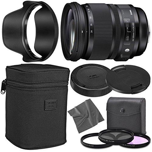 Sigma 24-105mm f/4 DG OS HSM Art Lens for Nikon F with AOM Starter Kit, Sigma Case, Hood, Ultraviolet Filter (UV) Polarizing Filter (CPL) Fluorescent Daylight Filter (FL-D) - International Version (24 105mm F4 Dg Os Hsm Art)