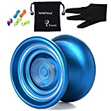 Responsive MAGIC YOYO K7 Aluminum Yo-yos Ball for Beginners with Bag+ Glove+ 5 Strings (Blue)