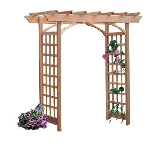 Western Red Cedar Arbor - Arboria Berkeley Arbor Cedar Wood Large Depth Over 7ft High Pergola Design with Adjustable Size Walkway Opening