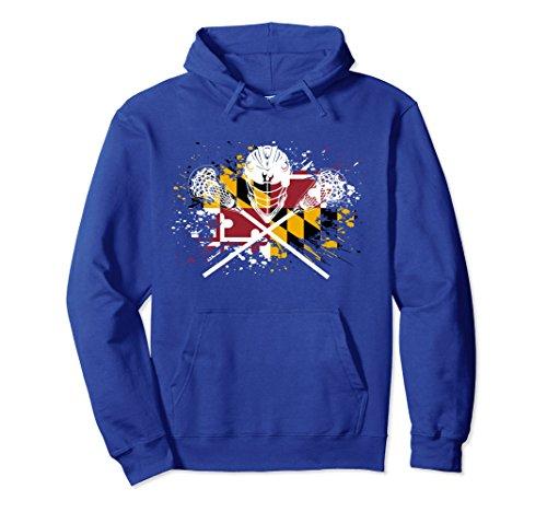 (Unisex Boys Lacrosse Hoodie Sticks Crossed Helmet LAX Maryland Flag Medium Royal Blue)