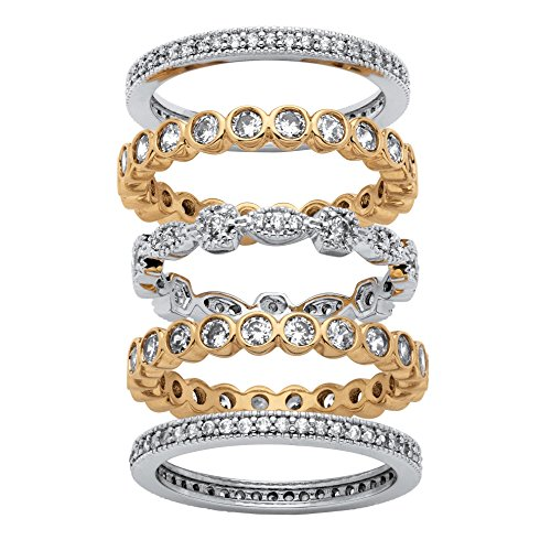 Seta Jewelry Cubic Zirconia 14K Gold-Plated and Silvertone 5-Piece Stackable Eternity Bands by Seta Jewelry