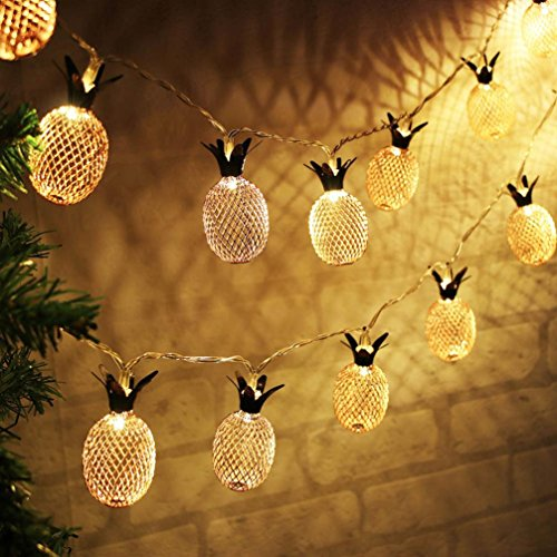 BananA_light BZ747 20 LED metal hollow pineapple holiday decoration string home pineapple decoration lamp curtain pineapple lamp string family party decoration Recommended: (20 LED) (Spray Hollow)