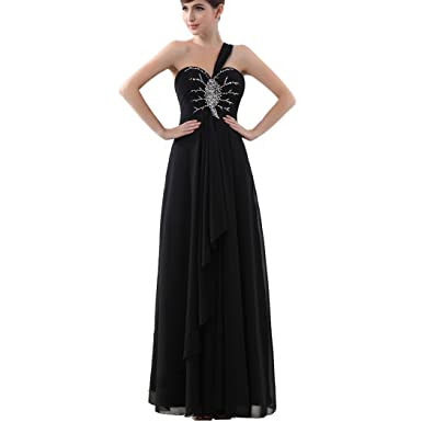 Clearbridal Womens One-Shoulder Prom Dress Long Chiffon Bridesmaid Occasion Gowns with Crystal SD004 Black