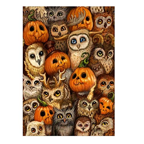 Halloween Cross Stitch Arts,Lovewe Halloween 5D Embroidery Cat Skull Pumpkin Witch Owl Paintings Rhinestone Pasted DIY Diamond Painting (C)]()