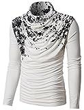 H2H Mens Unique Slim fit Fashionable Designed Shirring Long Sleeve T-Shirts White US