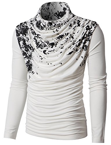 H2H Mens Unique Slim fit Fashionable Designed Shirring Long Sleeve T-Shirts White US S/Asia M (KMTTL0252)