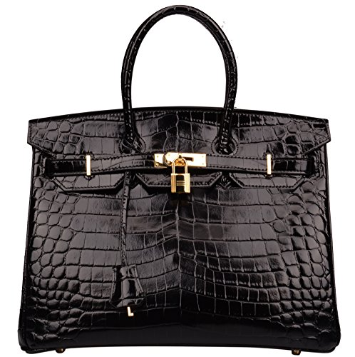 Patent Leather Logo Handbag (Ainifeel Women's Patent Leather Crocodile Embossed Top Handle Handbags (35cm, Black))