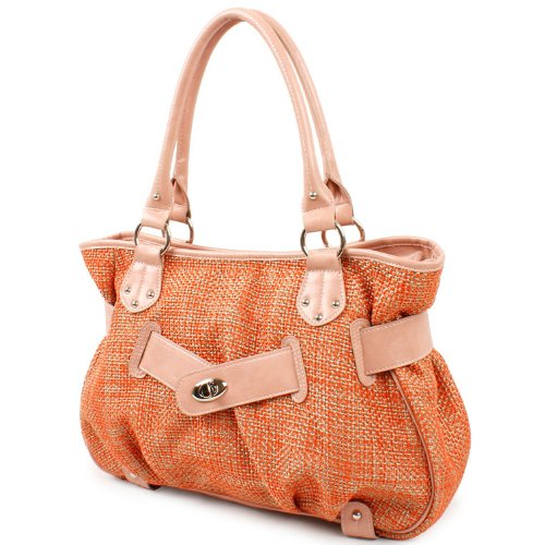 Life is Peachy Woven Straw Satchel / Handbag Lady Purse -LIMITED EDITION- (B026), Bags Central