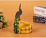 Znzbzt Peacock ashtray creative large personality to cover home bedroom living room w/cover trend luxury smoking cylinder, peacock ashtray large