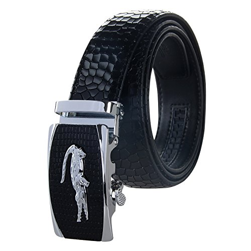 (Men's Holeless Leather Ratchet Dress Belt with Automatic Sliding Buckle - Trim to Fit)