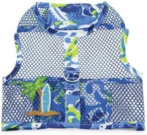 DOGGIE DESIGN Surfboard Blue and Green Cool Mesh Dog Harness with Matching Leash X-Small