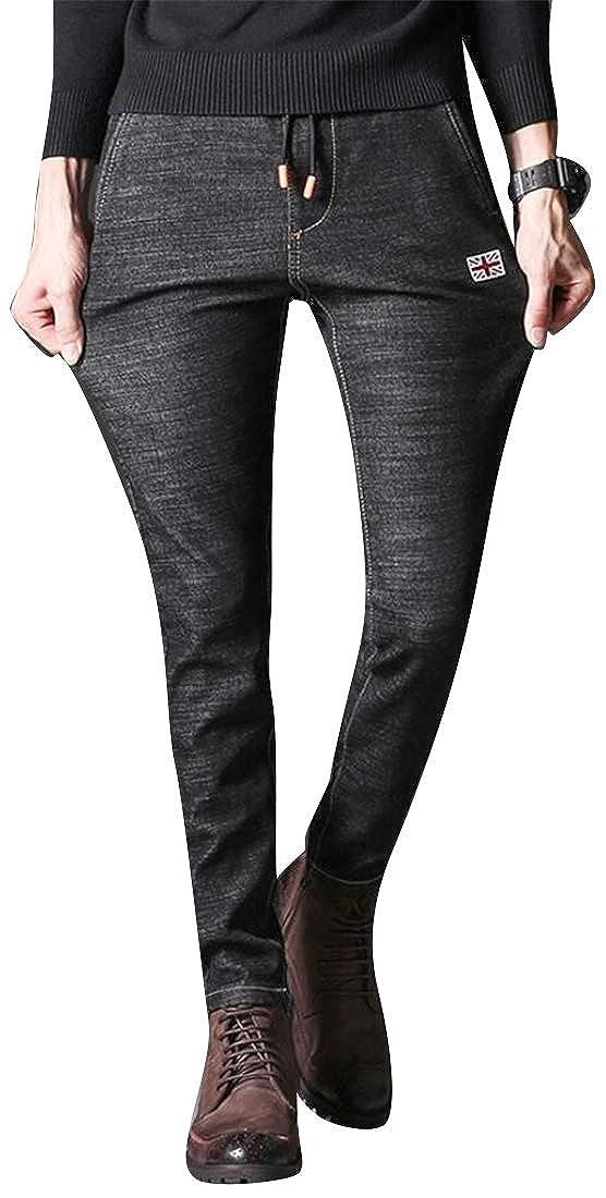 Domple Mens Winter Elastic Waist Slim Fit Warm Drawstring with Velvet Retro Denim Jeans Pants