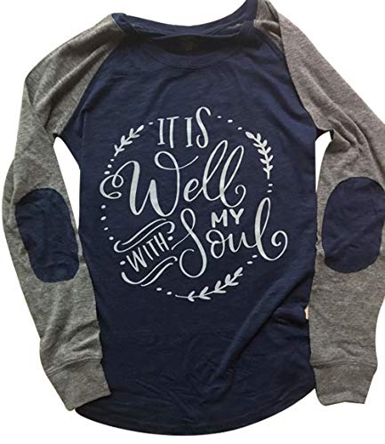It is Well with My Soul Christian T Shirt Women Long Sleeve Patches Blouse Tops Size S (Nary Blue) ()