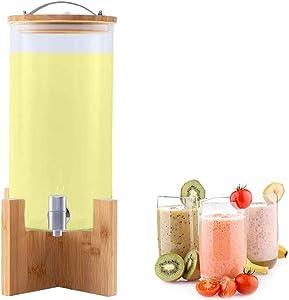 JACKBAGGIO 3L/5.2L/8L New Home/Commercial Juice Cans Borosilicate Glass Fruit Beverage Dispenser Kitchen Storage Tank Transparent Barrel w/Stainless Faucet Craft Shelf