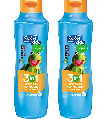 Suave Kids 3 in 1 Shampoo / Conditioner / Body Wash, Splashing Apple Toss- 22.5 oz, 2 Pack by Suave