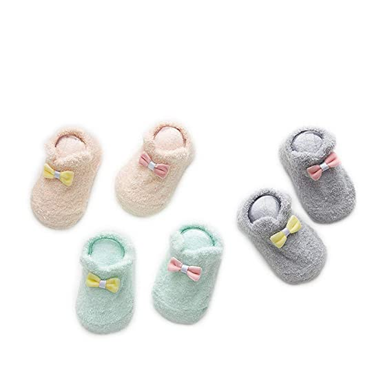 Auxm 6 pares Calcetines de invierno para bebé niñas 0-12 12-24 meses