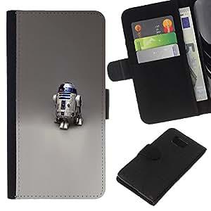LECELL--Cuero de la tarjeta la carpeta del tirón Smartphone Slots Protección Holder For Samsung ALPHA G850 -- Robot R2 D2 --