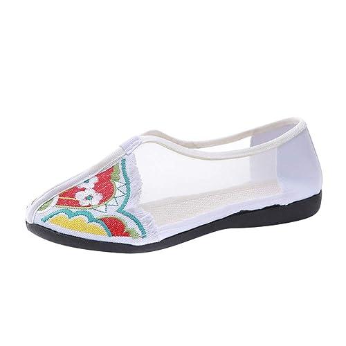 Yudesun Alpargatas Zapatos Mujeres - Damas Chino Estilo Bordado Zapatos de Baile Mocasines Pisos Desenfadado Fiesta Yoga Ejercicio Vestido Caminar ...